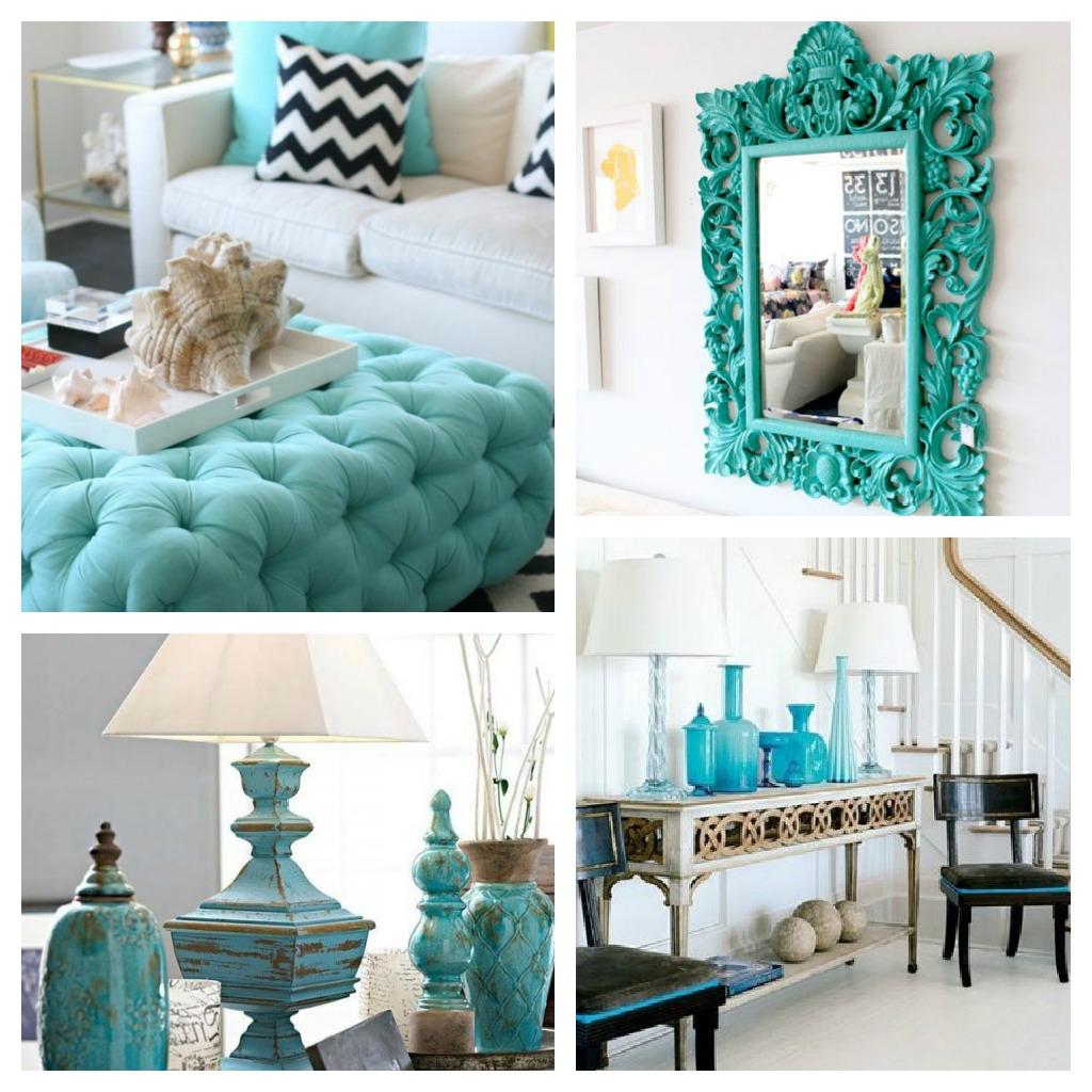 Sala de estar azul turquesa e amarelo for Em muebles